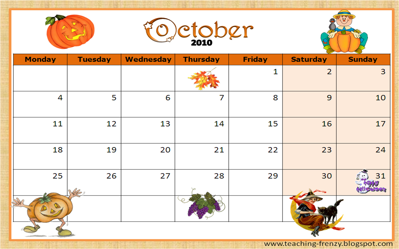 October is almost here. I've created this calendar which can be used