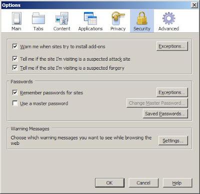 Firefox Security Options dialog
