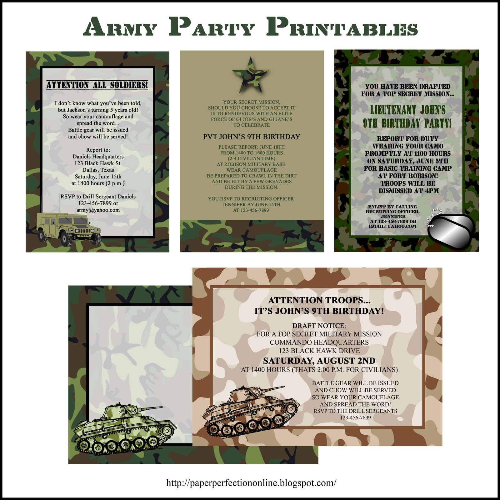 Paper Perfection Army Party Printables