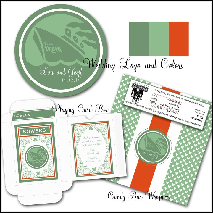 Here is the wedding logo and printable candy bar wrapper and playing card