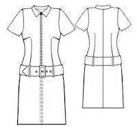 Rss канал: Выкройки женской одежды.  Выкройка платья с широким поясом с пряжкой.