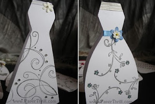 Handmade bridal shower dress cards