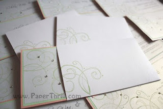 Handmade pink and green swirls wedding card