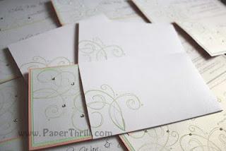 Handmade pink and green swirls wedding card