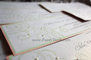 Handmade wedding swirls invitation