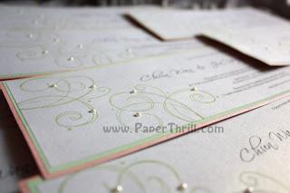 Handmade wedding swirls invitation