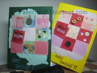 Patchwork blanket birthday card - Green and Yellow