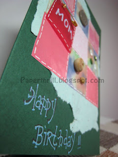 Patchwork blanket birthday card - Green closeup