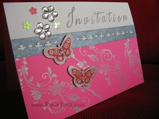 Sparkling fushia wedding card