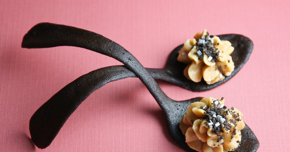 Peanut butter mousse in tuile cookie spoons sprinkle bakes for Edible canape spoons