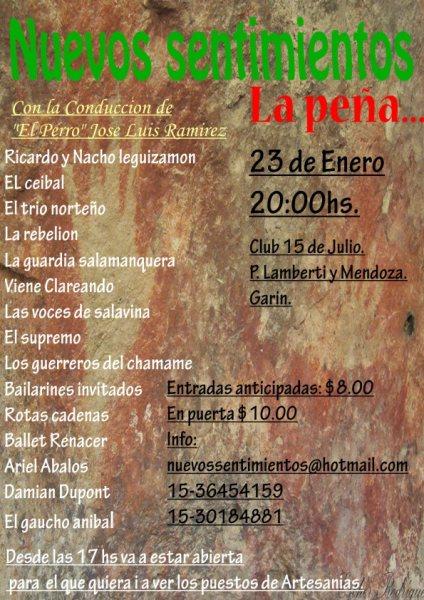 Invitacion Peña Nuevos Sentimientos 23/01/10