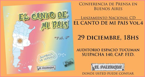 """Presentacion del CD """"El Canto de Mi Pais Vol. 4"""""""