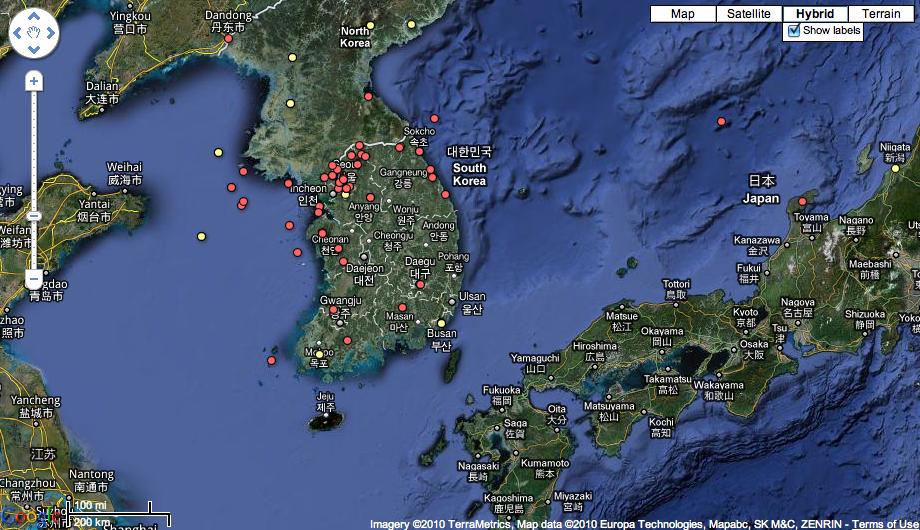 china north korea map. North Korea and South