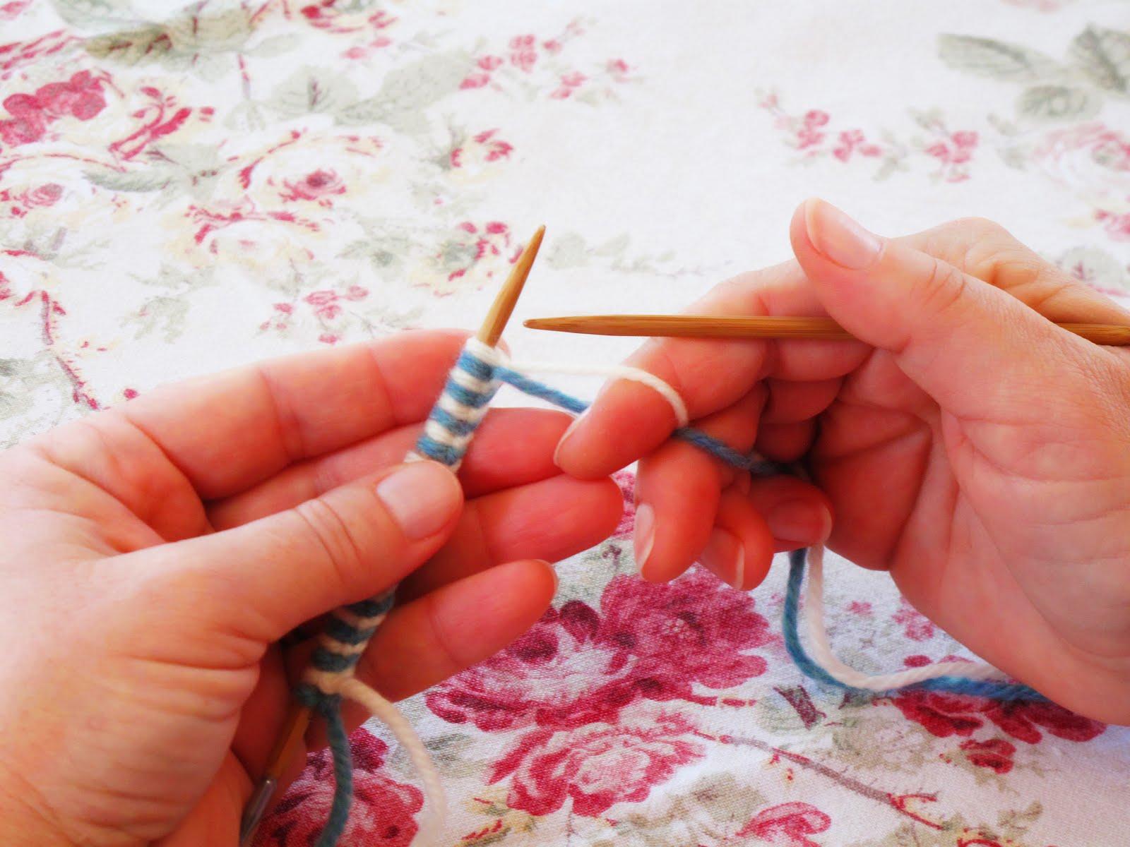 Вязание в две нитки разного цвета 34