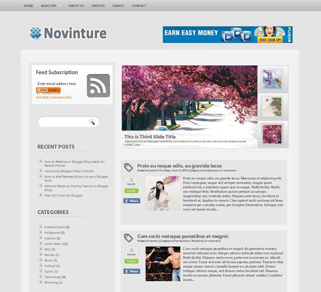 stunning blogger template Novinture