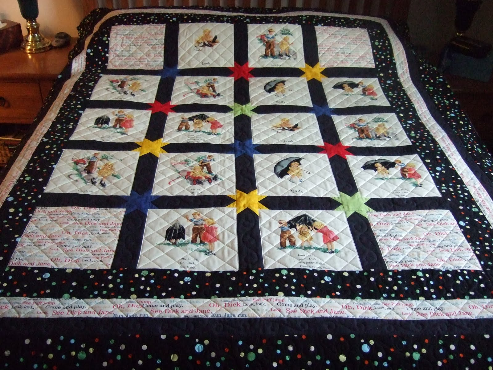 Miss Sews-it-all: Project Finish: Hexy Dick and Jane Quilt