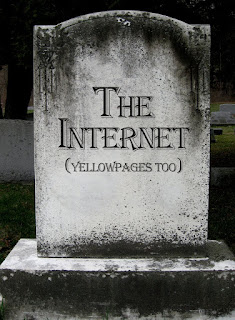 Tombstone with the words The Web is Dead on it