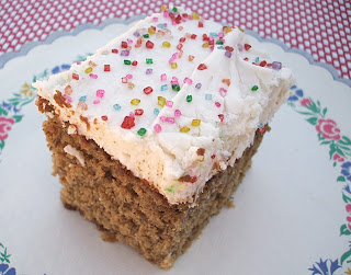 Banana Cake with Cream Cheese Frosting frugalanticsrecipes.com