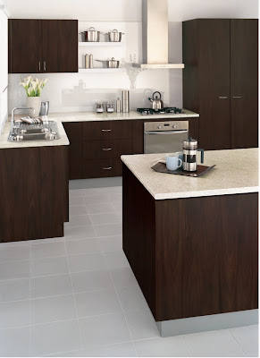At home with kristy kitchen example for Chocolate pear kitchen cabinets