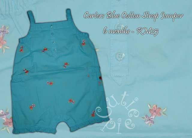 Carter Blue Cotton Strap Romper