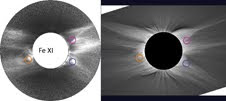 Comparison of the first image of the corona in Fe XI 789.2 nm, taken during the 2006 eclipse, with a white-light image taken by Miloslav Drckmuller from Brno University of Technology in the Czech Republic