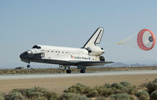 pace shuttle Atlantis lands at Edwards Air Force Base in California