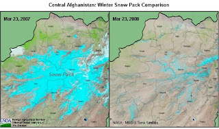 A 2008 MODIS image of winter snowpack (right) shows that snowpack was significantly lighter than in 2007 (left) owing to the prevailing dry weather pattern across Afghanistan.