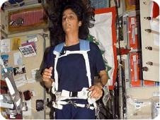 While aboard the International Space Station, astronaut Sunita Williams exercises rigorously to maintain optimum health.