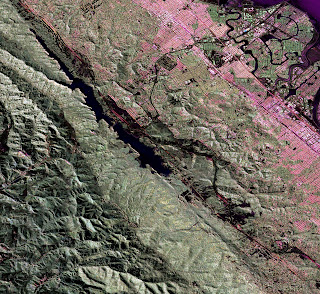 UAVSAR image of the San Andreas fault in the San Francisco Bay area just west of San Mateo and Foster City.