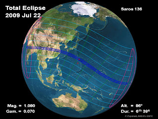 The path of the total solar eclipse on July 22, 2009, will sweep across nearly half of Earth, beginning in India and ending in the Pacific Ocean.