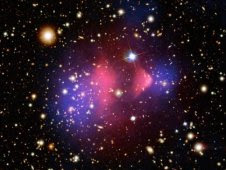 Composite of galaxy cluster 1E 0657-56, a Chandra image from on August 21, 2006