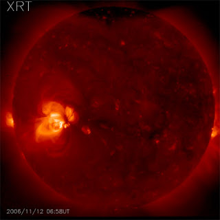 Two active regions appear as bright areas on this full-disk image of the sun, taken with the Hinode spacecraft's X-Ray