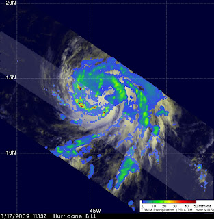 TRMM was able to capture an image of Bill at 11:33 UTC (7:33 am EDT) on August 17, 2009 just after Bill was upgraded to a hurricane