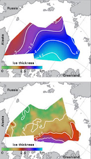 Patterns of average winter ice thickness from February to March show thicker ice in 1988 (above), compared to thinner ice averaged from 2003-2008 (below)