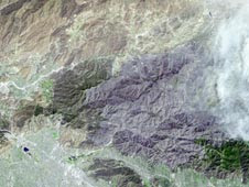 The extent of devastation from the Station fire burning near Los Angeles is strikingly visible in this Sept. 6 image from NASA's Terra satellite