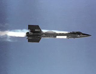 The X-15 research aircraft on its first powered flight on Sept. 17, 1959