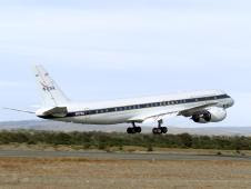 NASA's DC-8 flying laboratory takes off in Punta Arenas, Chile, during NASA's AirSAR 2004 campaign