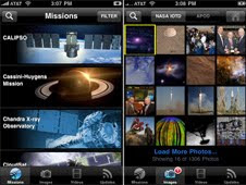 Screens from the NASA for iPhone app