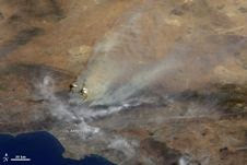 A MISR camera imaged California's Station Fire mid-morning Aug. 30, 2009, as it was aggressively spreading north of Los Angeles