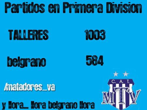 Belgrano sumo 38 partidos en primera ! Partidos en primera hasta la fecha Talleres 1003 , Belgrano