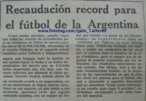 RECAUDACION RECORD FUTBOL ARGENTINO