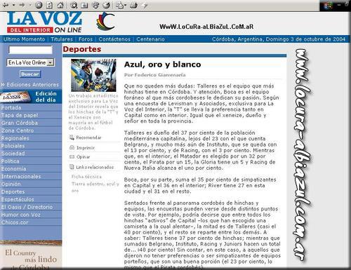 Encuesta La Voz Del interior TALLERES NUMERO 1 EN CORDOBA