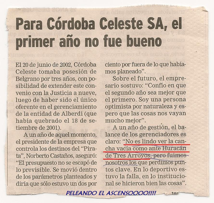 """""""no es lindo ver la cancha vacia como contra Huracan de tres Arroyos"""""""