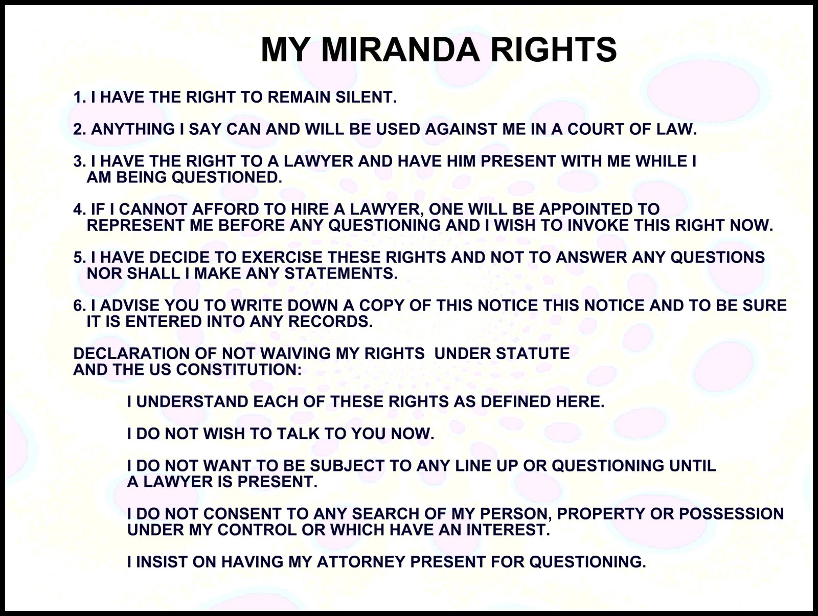 Crazy image in miranda warning card printable