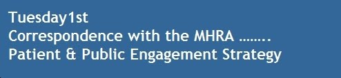 Tuesday1st Correspondence with the MHRA ……..Patient & Public Engagement Strategy