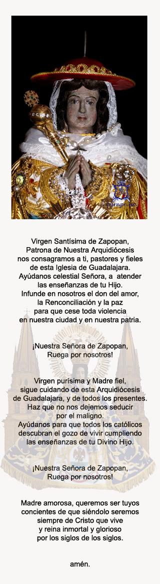 ORACIÓN DE LA RENOVACIÓN DE PATROCINIO DE LA ARQUIDIOCESIS DE GUADALAJARA.