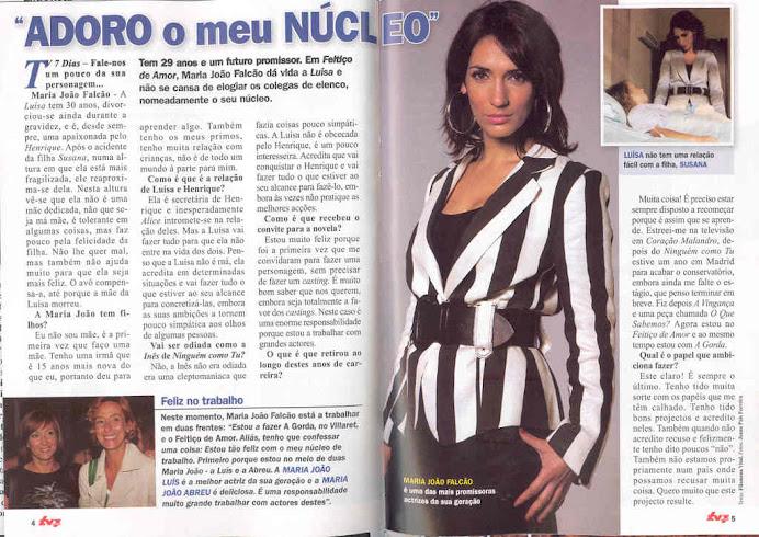 """Entrevista de Maria João Falcão á Revista """" TV7 Dias"""""""