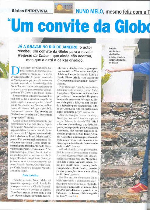 Entrevista de Nuno Melo á Revista TV7 Dias