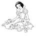 Desenho da Branca de Neve Rodeada de Animais Para Colorir