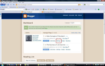 Back to the Blogger Dashboard to get to the settings page.
